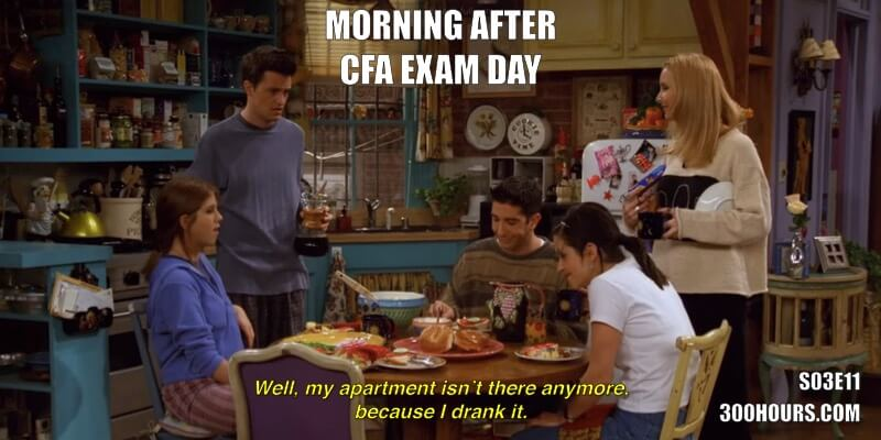 CFA Friends Meme: Celebrating after CFA exams