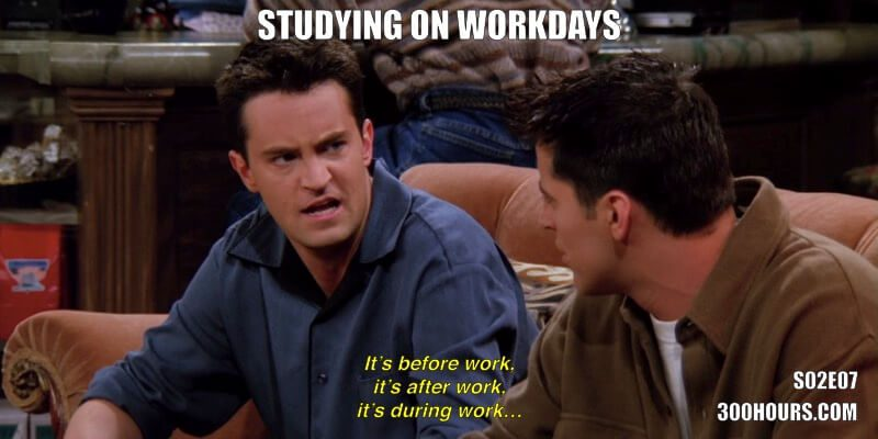 CFA Friends Memes: Studying on Workdays