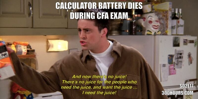 Calculator runs out of battery during CFA exam